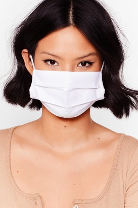Nasty Gal Womens Pleat Me in the Middle 3-Pc Fashion Face Mask - White - ONE SIZE, White