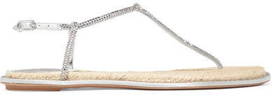 Rene Caovilla Diana Crystal-embellished Metallic Leather Sandals - Silver