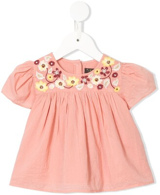 Velveteen Juniper floral embroidered blouse