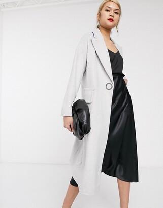 Palones Ring Popper Front Long Line Coat in Grey