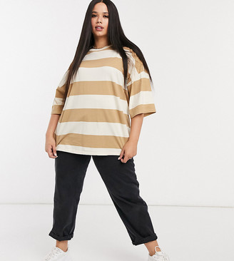 ASOS DESIGN Curve oversized t-shirt in chunky washed stripe
