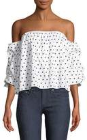 Bardot Polka-Dot Print Off-the-Shoulder Bustier