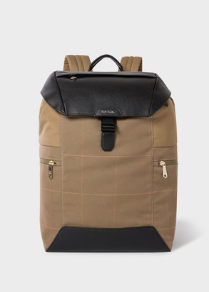 Paul Smith Men's Khaki Check Flap-Closure Backpack