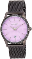 Akribos XXIV Swarovski Crystals Women's Watch - Square-textured Dial - Stick Hour Markers - Date Display On a Stainless Steel Braclet- AK967