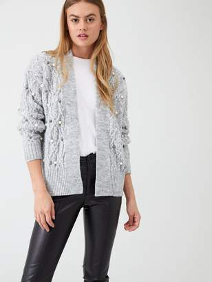 River Island Embellished Cable Knit Cardigan - Grey