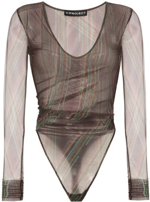 Y/Project Ruched Mesh Bodysuit