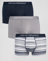 Emporio Armani 3 Pack Trunks With Stripe