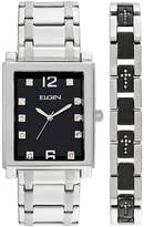 Elgin Mens Crystal Stainless Steel and Black Watch and Bracelet