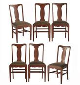 Rejuvenation Set of 6 Oak Dining Chairs w/ Velvet Seats