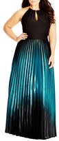 City Chic Plus Size Women's Ombre Keyhole Neck Pleat Maxi Dress