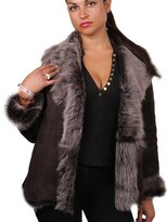Brandslock Women's Soft Toscana Suede Sheepskin Leather Coat
