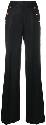 Pt01 Flared Button-Detail Trousers
