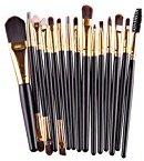 Iuhan 15 pcs/Sets Eye Shadow Foundation Eyebrow Lip Brush Makeup Brushes Tool (Black)