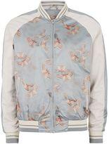 Topman Grey and White Butterfly Print Souvenir Bomber Jacket