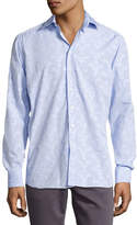 Etro Flocked-Circle Cotton Shirt, Light Blue