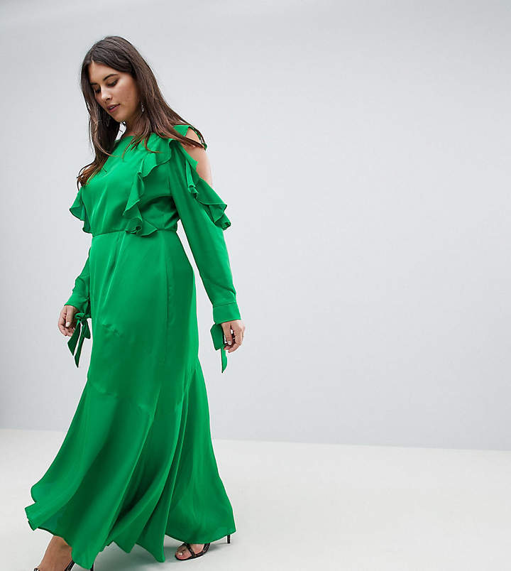 Asos Design Curve Ruffle Sleeve Maxi Dress With Cold Shoulder