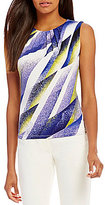 Calvin Klein Petites Abstract Stripe Print Matte Jersey Pleat Neck Shell