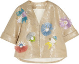 DELPOZO Embellished Embroidered Metallic Linen-blend Jacket - Gold