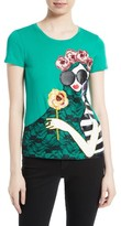 Alice + Olivia Women's Stace Lace Flowers Embellished Applique Tee