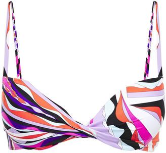 Emilio Pucci Twist-front Printed Bikini Top
