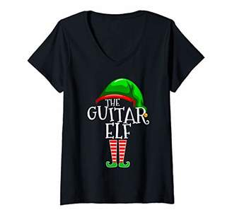 Womens The Guitar Elf Group Matching Family Christmas Gifts Funny V-Neck T-Shirt