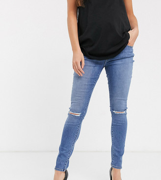 ASOS DESIGN Maternity high rise ridley 'skinny' jeans with rips in mid stonewash