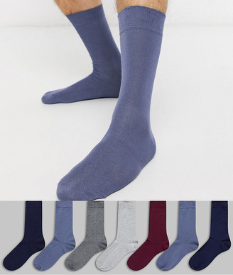 Green Treat 7 pair ankle socks in plains mix