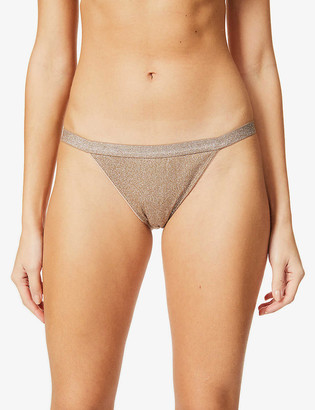 LOVE Stories Wild Rose mid-rise metallic-knit and lace tanga briefs