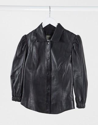 Muu Baa Muubaa puff sleeve leather top in black