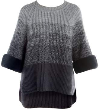 Fendi Fur Cuff Wool & Cashmere Ombre Crewneck Sweater