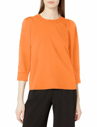 Lark & Ro Women's Standard Puff Sleeve Crew Neck Top