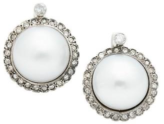 Stephanie Windsor Vintage 18K White Gold, 12MM Cultured Pearl & Diamond Halo Earrings