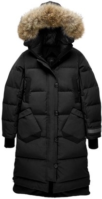 Canada Goose Black Disc Aldridge Coyote Fur-Trim Down Parka