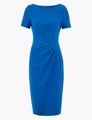 Marks and Spencer PETITE Ruched Front Midi Bodycon Dress