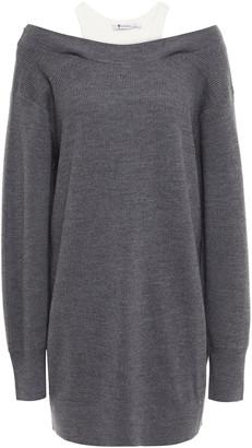 alexanderwang.t Layered Ribbed Jersey And Merino Wool-blend Mini Dress