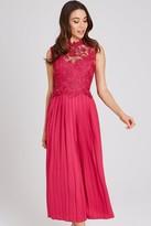 Little Mistress Frances Hot Pink Lace Midaxi Dress