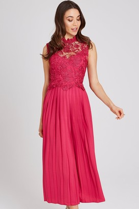Little Mistress Frances Hot Pink Lace Midaxi Dress