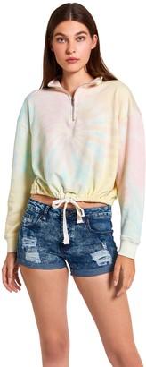 Steve Madden Tie-Dye Cropped Sweatshirt Rainbow Multi
