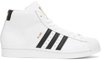 adidas White Pro Model High-Top Sneakers