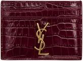Saint Laurent Burgundy Croc-Embossed Monogram Card Holder