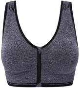 Senchanting Zip Front Racerback Padded Seamless Wirefree Push up Impact Yoga Sports Bra Tank Crop Top (Grey,L)