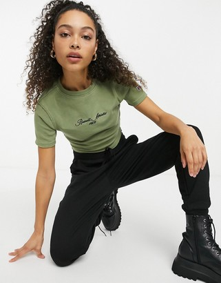 Russell Athletic ribbed crop top in khaki