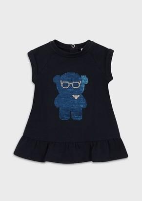 Emporio Armani Jersey Dress With Sequinned Manga Bear