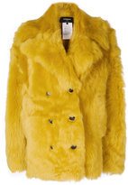 Rochas double breasted coat - women - Cotton/Lama Fur - 40