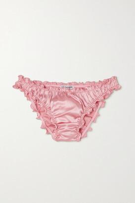 I.D. Sarrieri Lombard Street Ruffled Silk-blend Satin Briefs - Pink