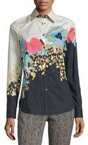 Etro Floral-Print Button-Front Shirt, Black
