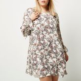 River Island Womens Plus cream paisley print smock dress