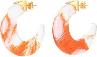 EJING ZHANG 'Tohil' resin hoop earrings