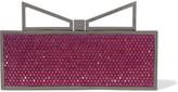 Sara Battaglia Lady Me Red Carpet crystal-embellished gunmetal-tone clutch