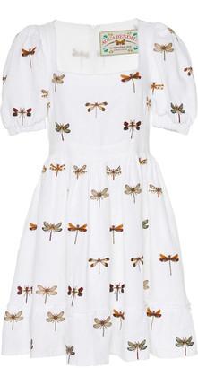 Agua Bendita Pomelo Embroidered Linen Mini Dress